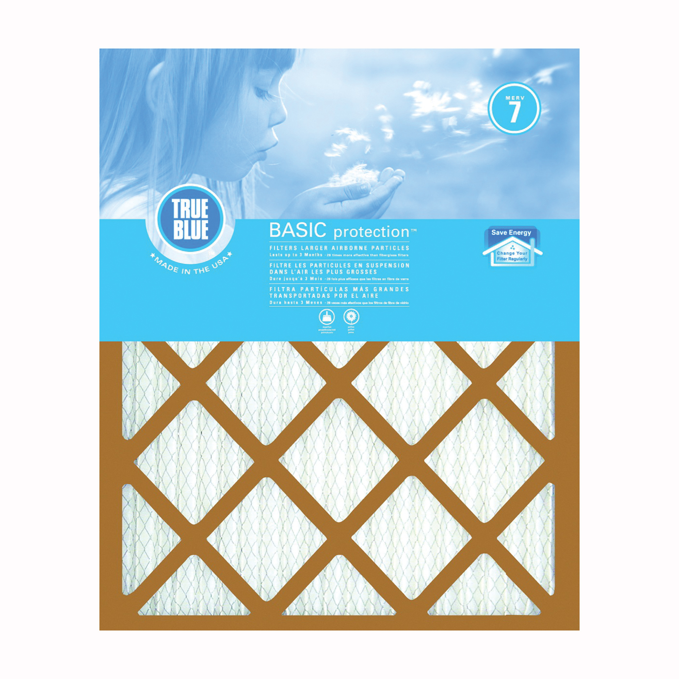 Picture of True Blue 220201 Air Filter, 20 in L, 20 in W, 7 MERV, 53.7 % Filter Efficiency, Synthetic Pleated Filter Media
