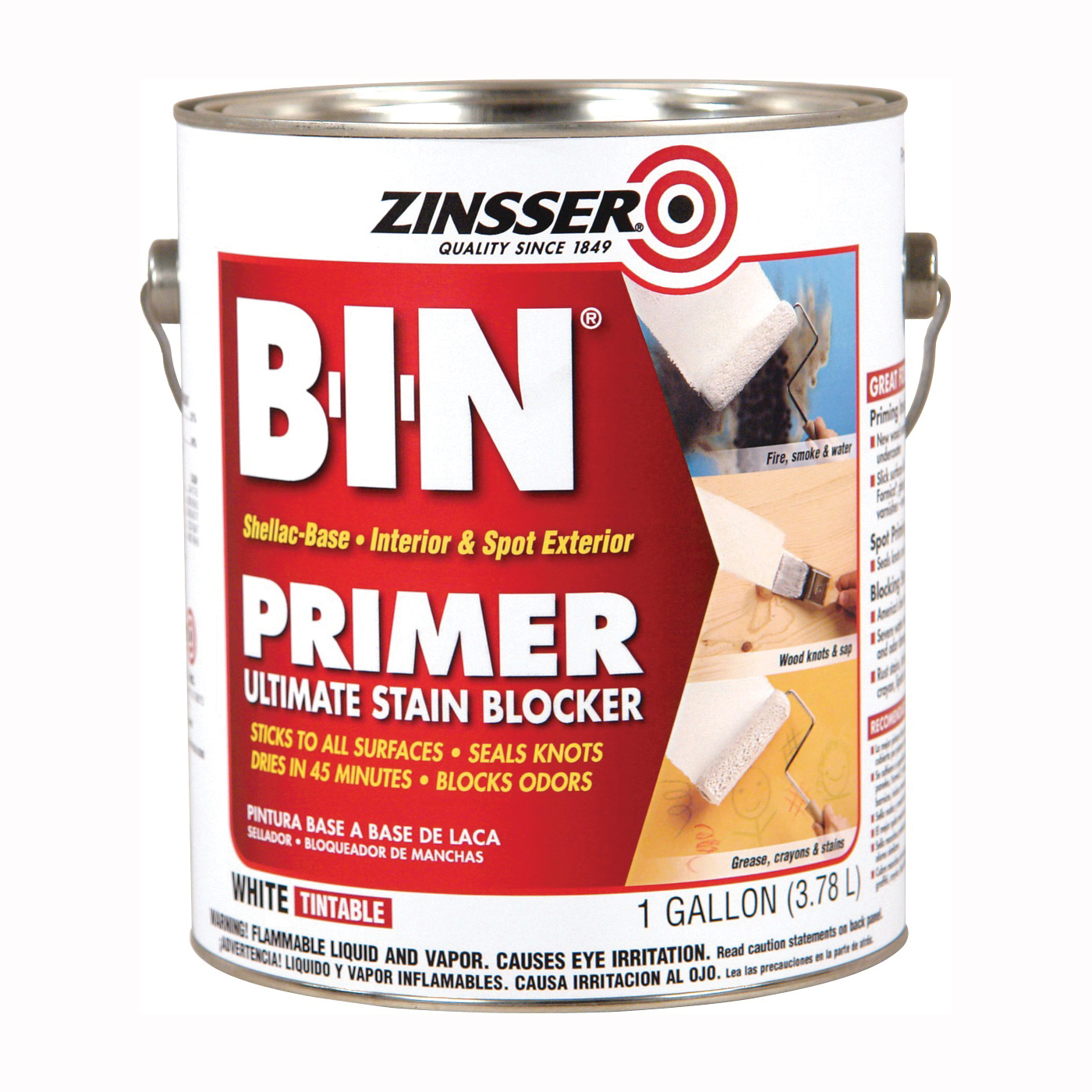 Picture of ZINSSER B-I-N 00901 Shellac-Base Primer, White, 1 gal