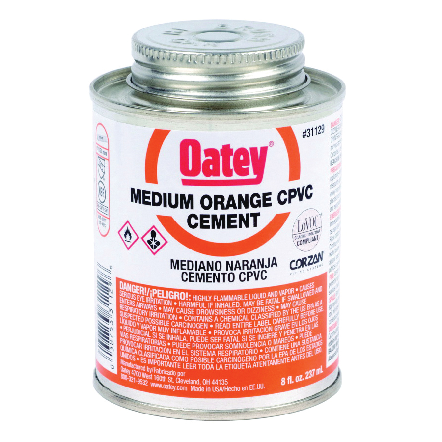 Picture of Oatey 31129 Solvent Cement, 8 oz, Can, Liquid, Orange