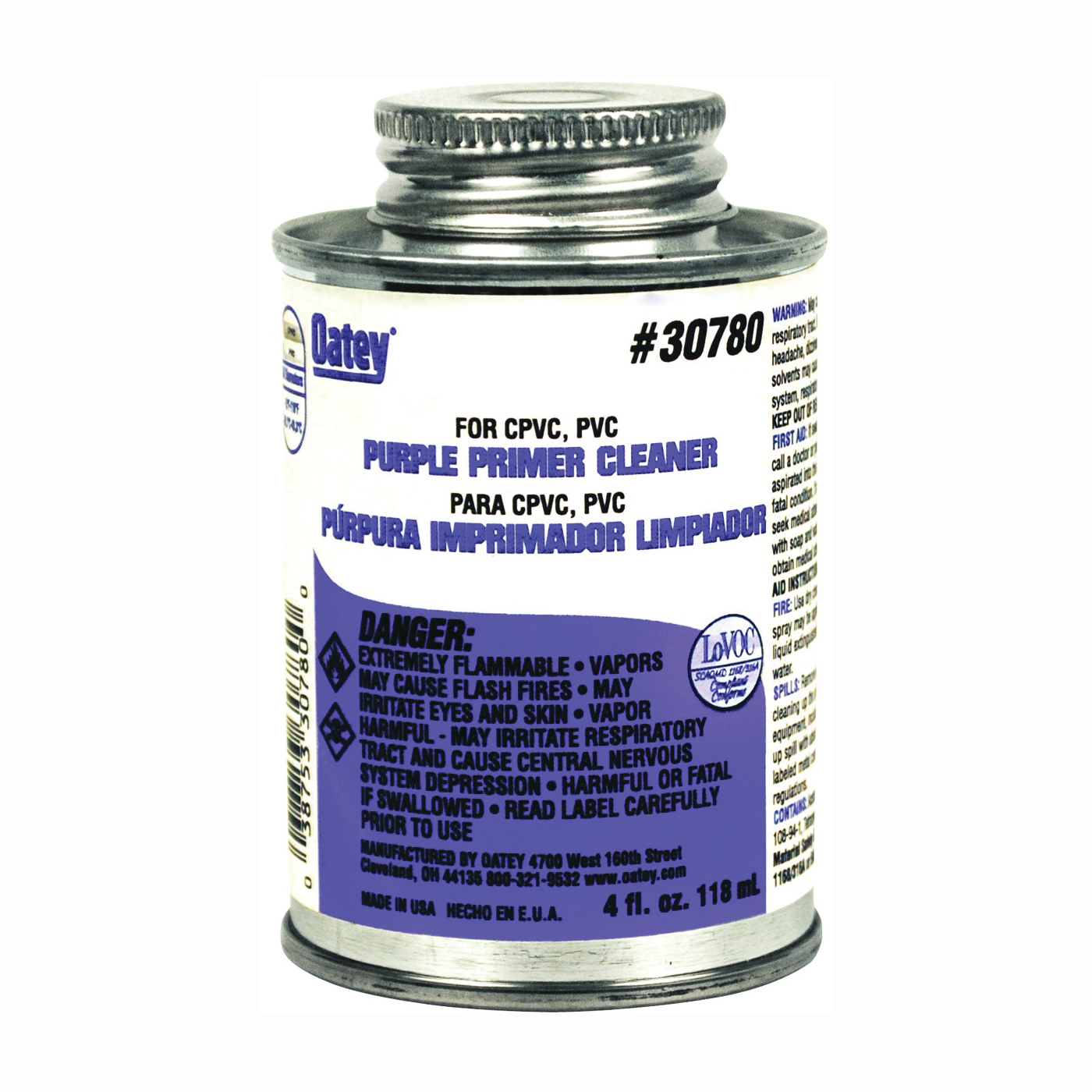 Picture of Oatey 30780 Primer/Cleaner, Liquid, Purple, 4 oz Package, Pail