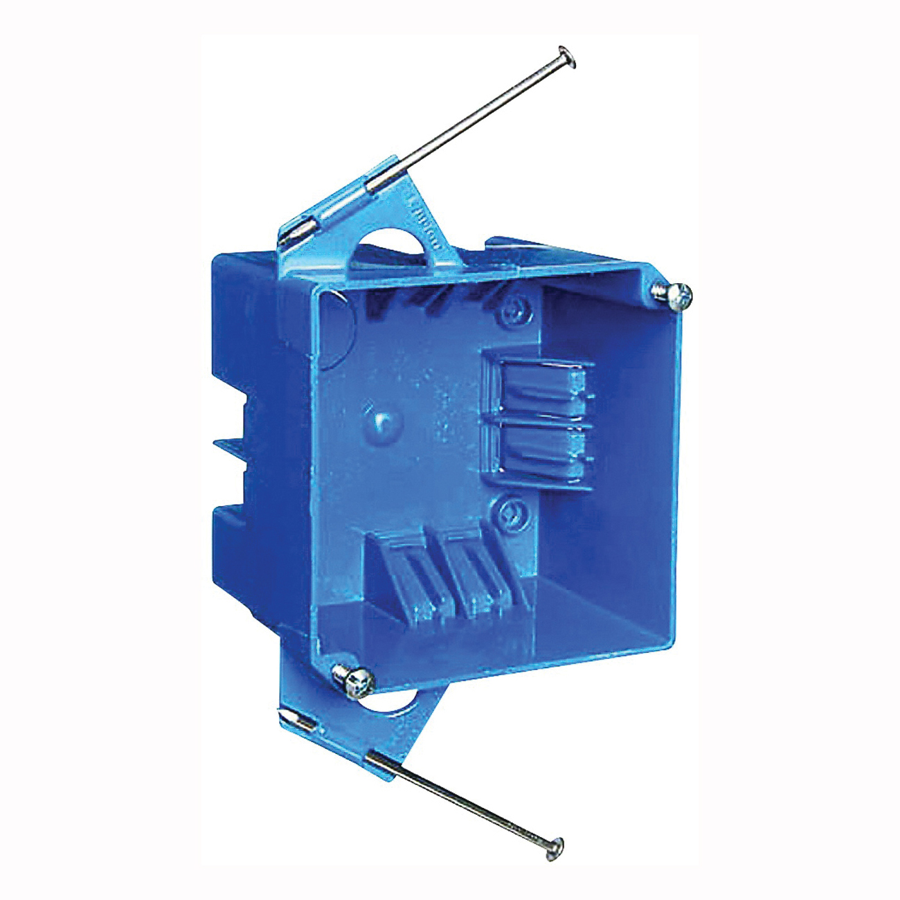 Picture of Carlon B432A-UPC Outlet Box, 4-Gang, Thermoplastic, Blue, Captive Nail Mounting