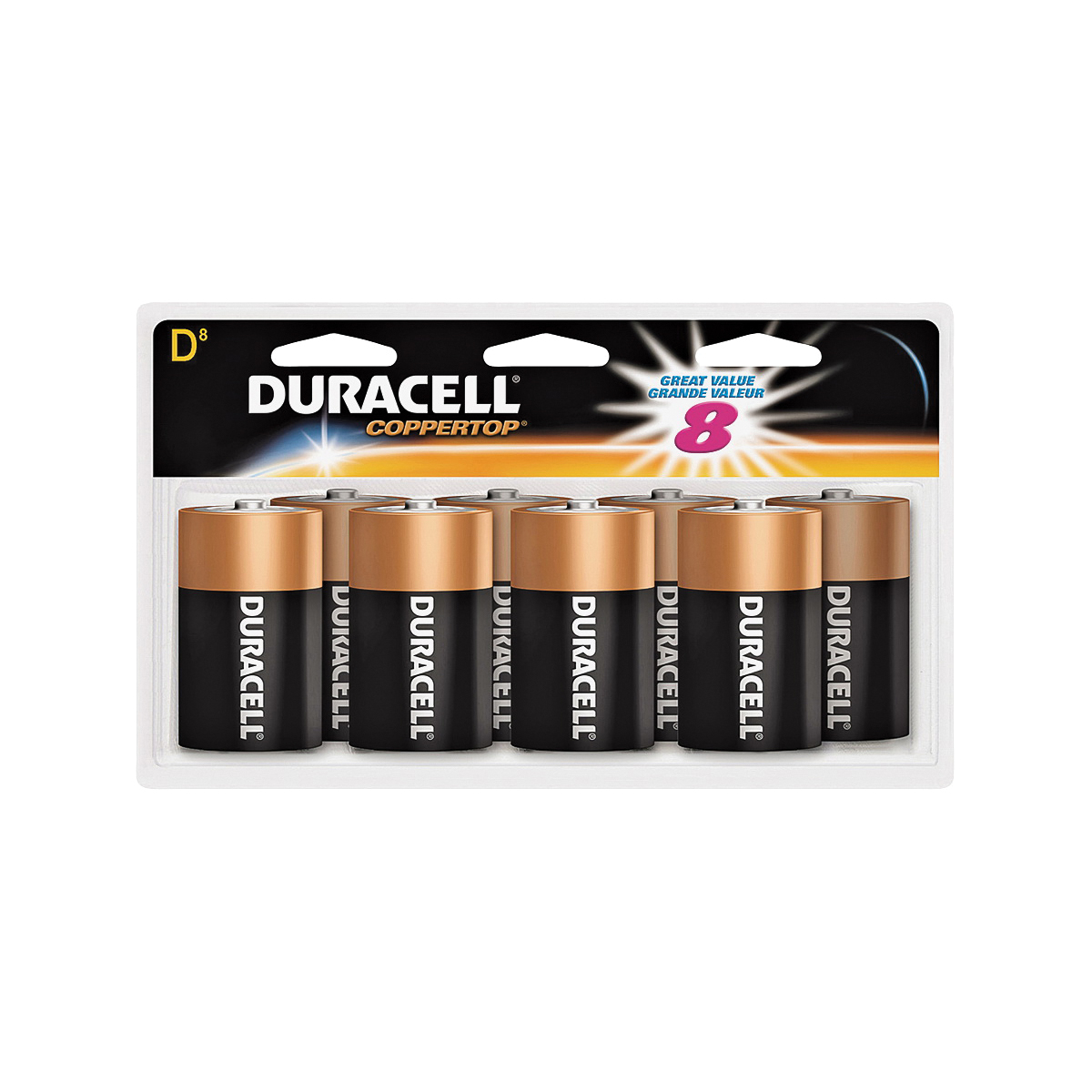 Picture of DURACELL 4133393364 Alkaline Battery, 1.5 V Battery, D Battery, Manganese Dioxide