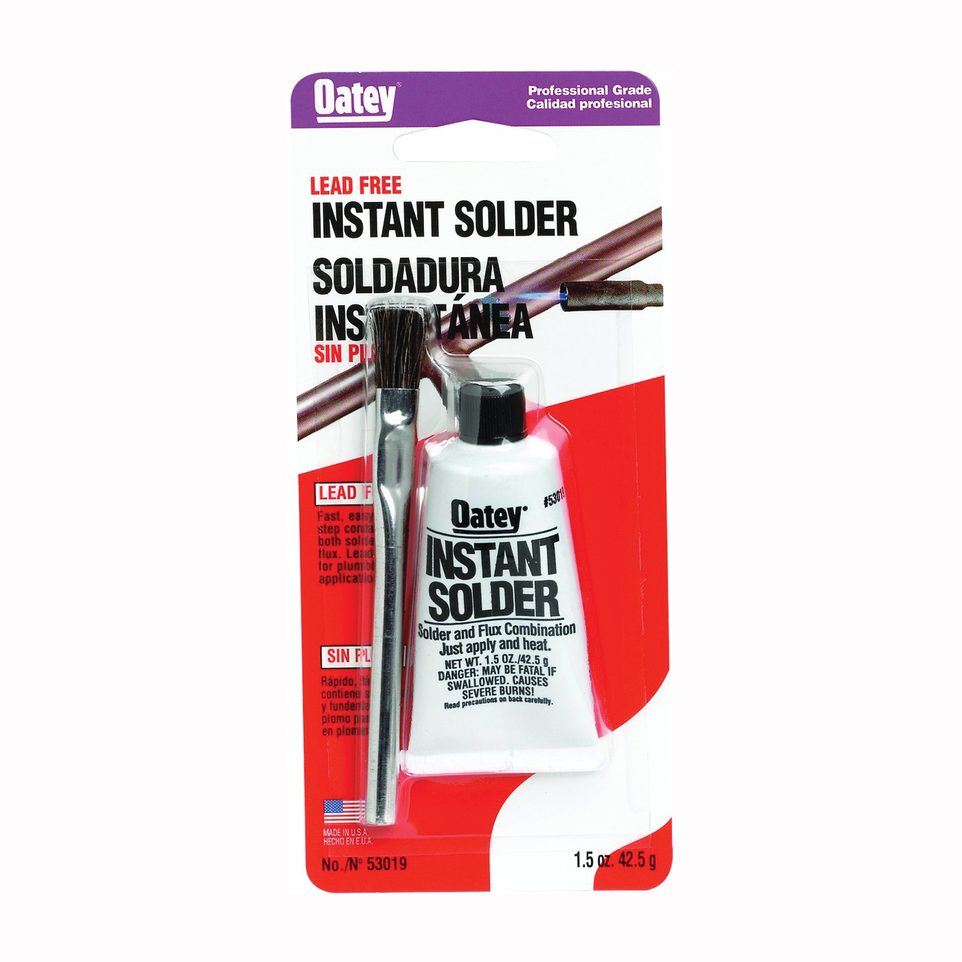 Picture of Oatey 53019 Instant Solder, 1-1/2 oz Package, Paste, Gray, 420 to 455 deg F Melting Point