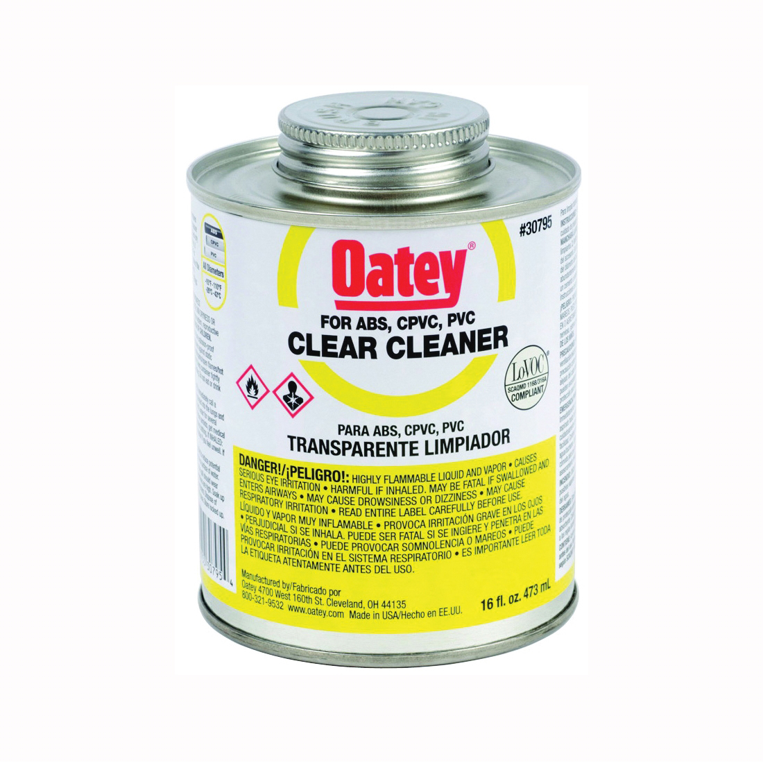 Picture of Oatey 30795 Pipe Cleaner, Liquid, Clear, 16 oz Package, Can
