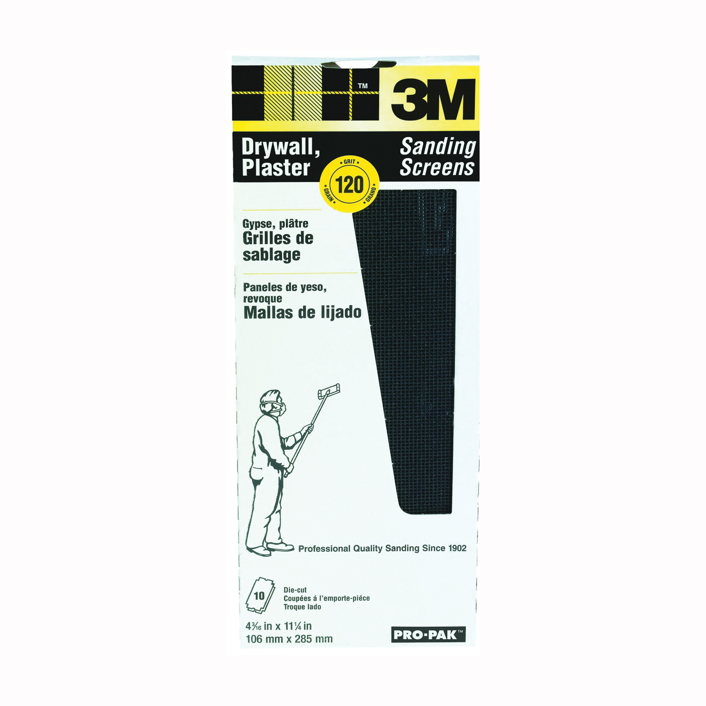 Picture of 3M 99438 Sanding Screen, 11 in L, 4-3/16 in W, 120 Grit, Silicone Carbide Abrasive, Cloth Backing