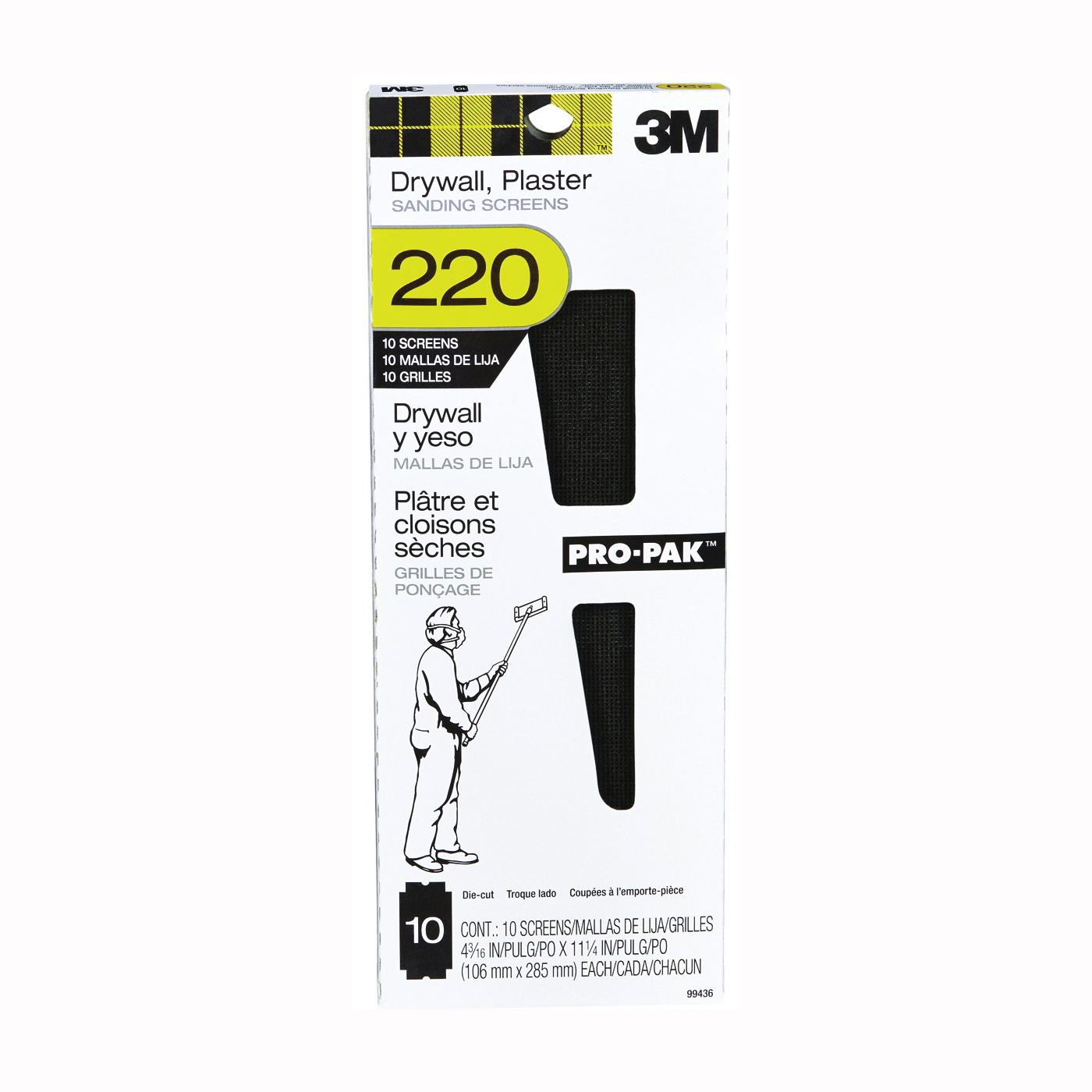Picture of 3M 99436 Sanding Screen, 11 in L, 4-3/16 in W, 220 Grit, Silicone Carbide Abrasive, Cloth Backing