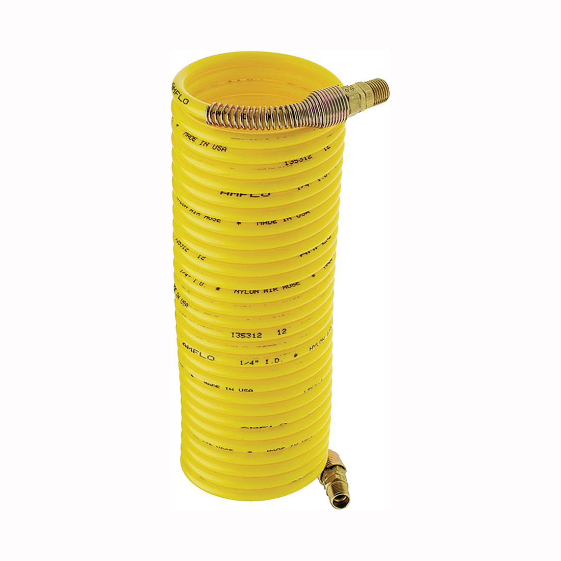 Picture of Amflo 4-25E-RET Air Hose, 1/4 in OD, 25 ft L, MNPT, 200 psi Pressure, Nylon, Yellow