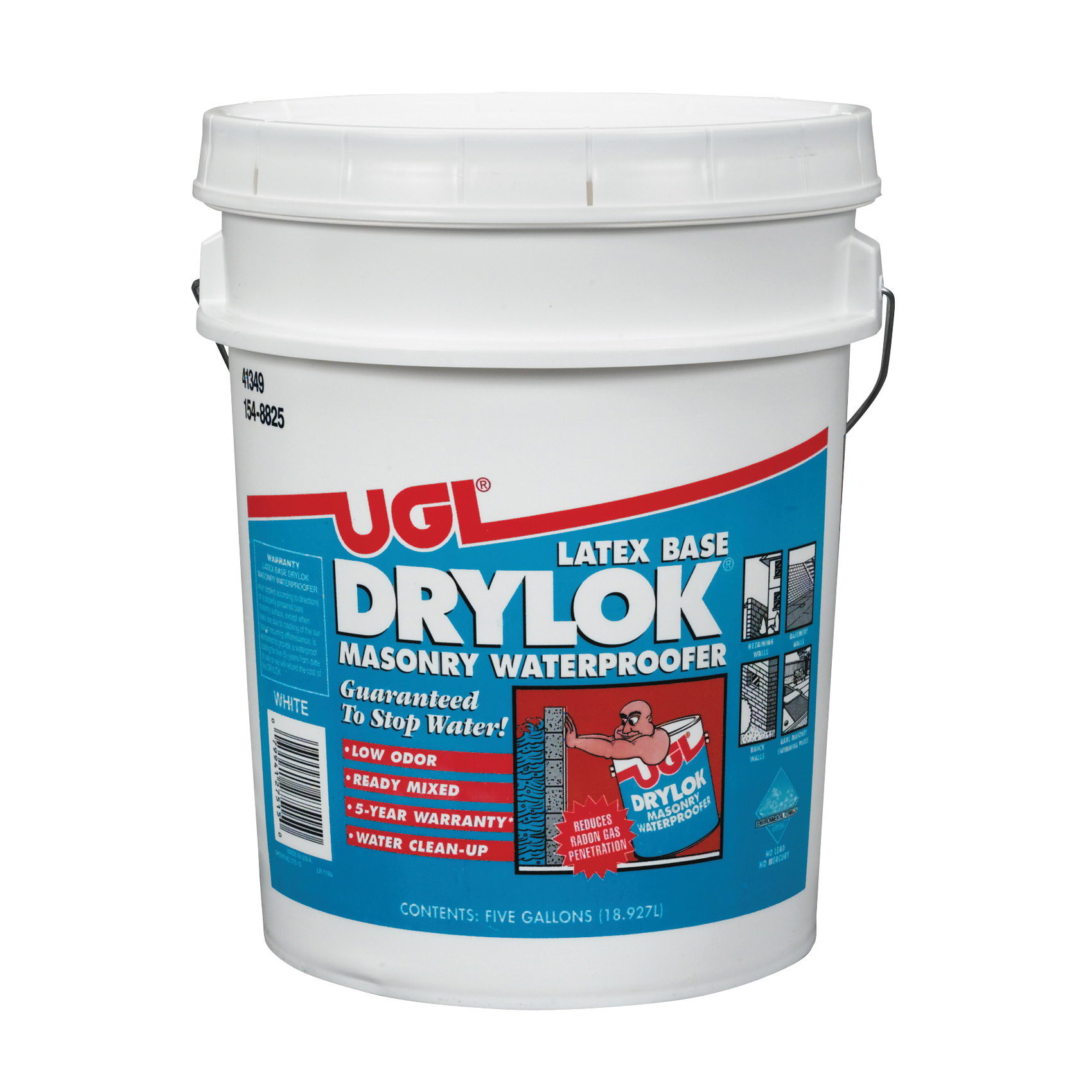 Picture of UGL DRYLOK 27515 Masonry Waterproofer, White, Liquid, 5 gal Package, Pail
