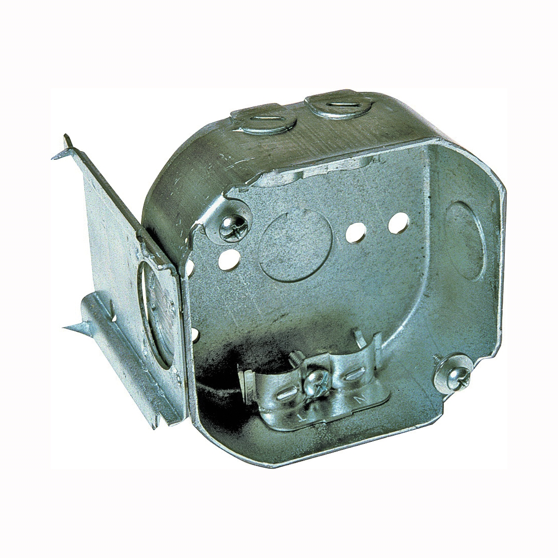 Picture of RACO 160 Octagon Box, 4.067 in OAW, 1-1/2 in OAD, 3.579 in OAH, 1-Gang, 3-Knockout, Steel Housing Material