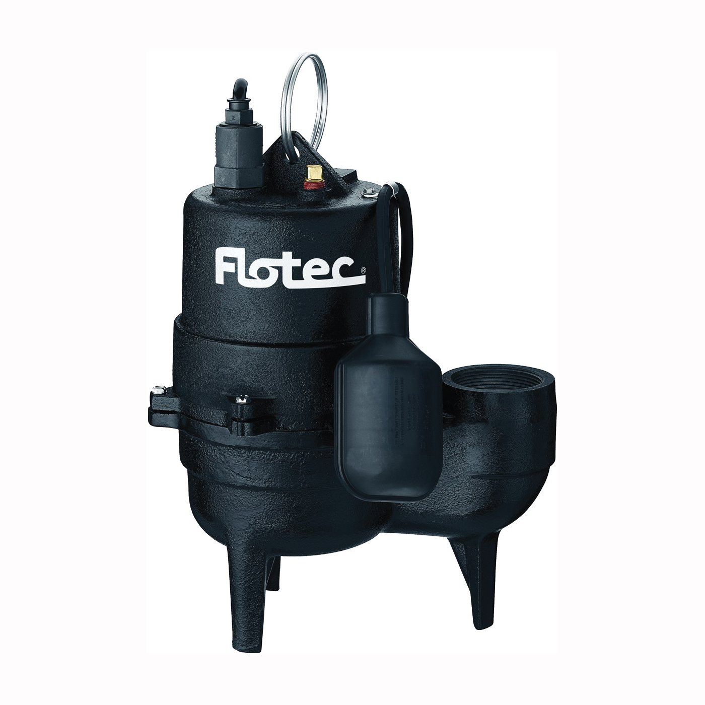 Picture of Flotec FPSE3601A-04 Sewage Pump, 13 A, 115 V, 0.5 hp, 2 in Outlet, 18 ft Max Head, 9000 gph, Iron