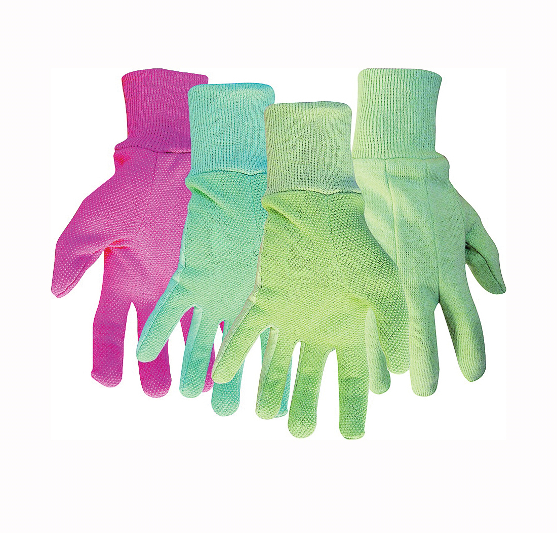 Picture of BOSS 738 General-Purpose Protective Gloves, Women's, L, Knit Wrist Cuff, Cotton/Polyester, Blue/Green/Pink