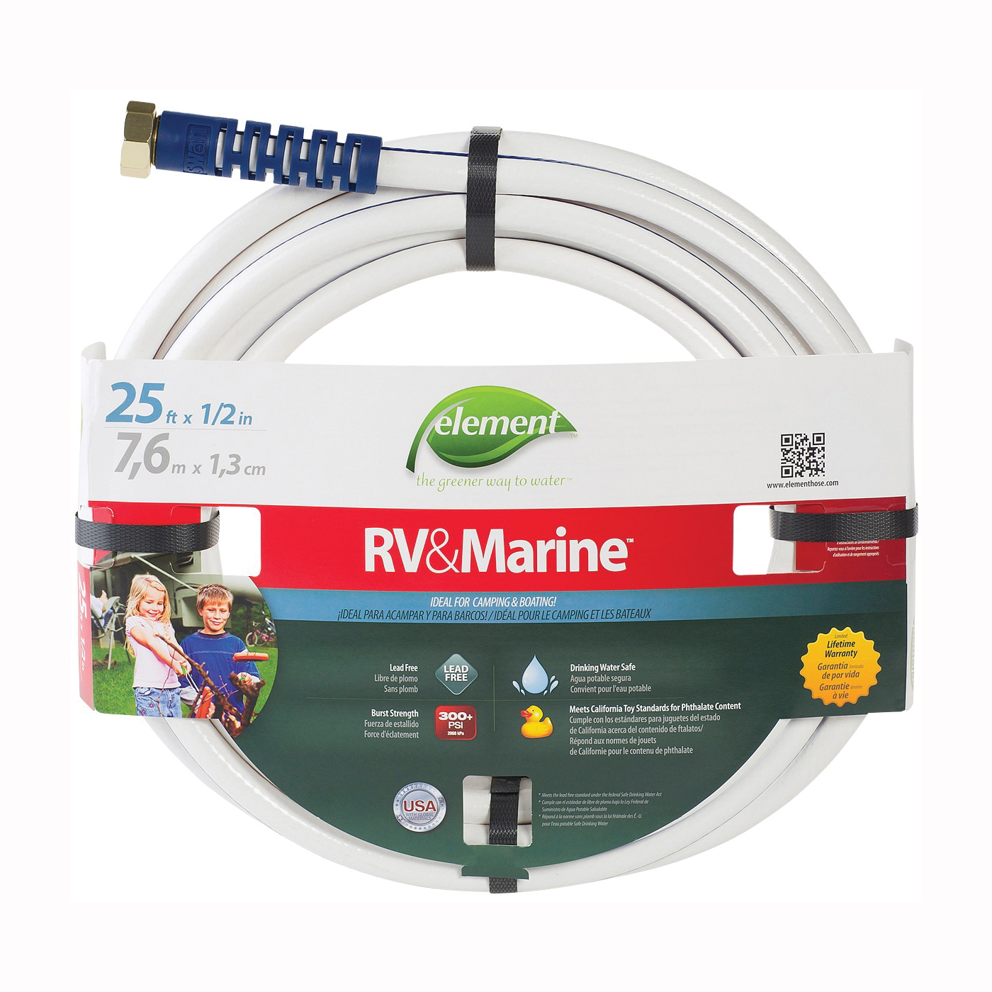 Picture of SWAN MRV12025 Water Hose, 1/2 in ID, 25 ft L, White