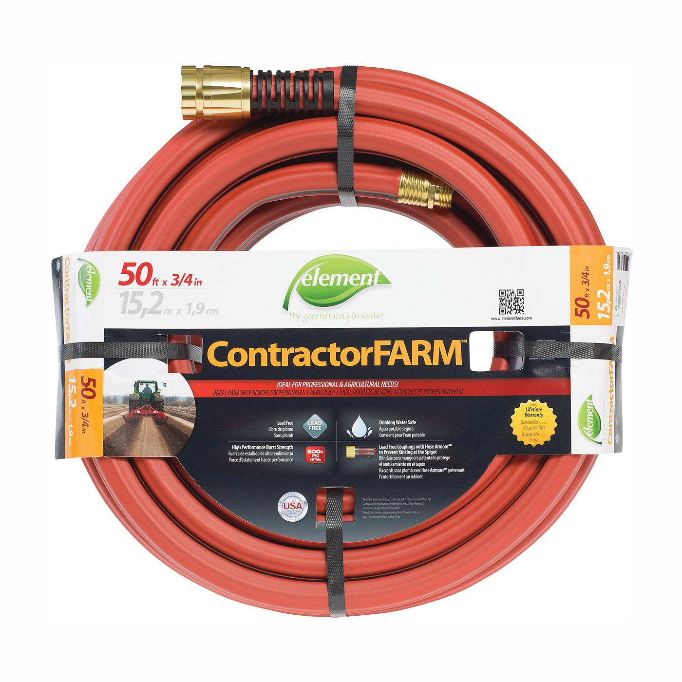 Picture of SWAN Element ContractorFARM ELCF34050 Water Hose with Brass Coupling, 50 ft L