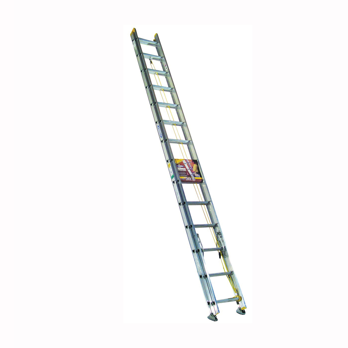 Picture of WERNER D1228-2 Extension Ladder, 27 ft H Reach, 225 lb, Aluminum