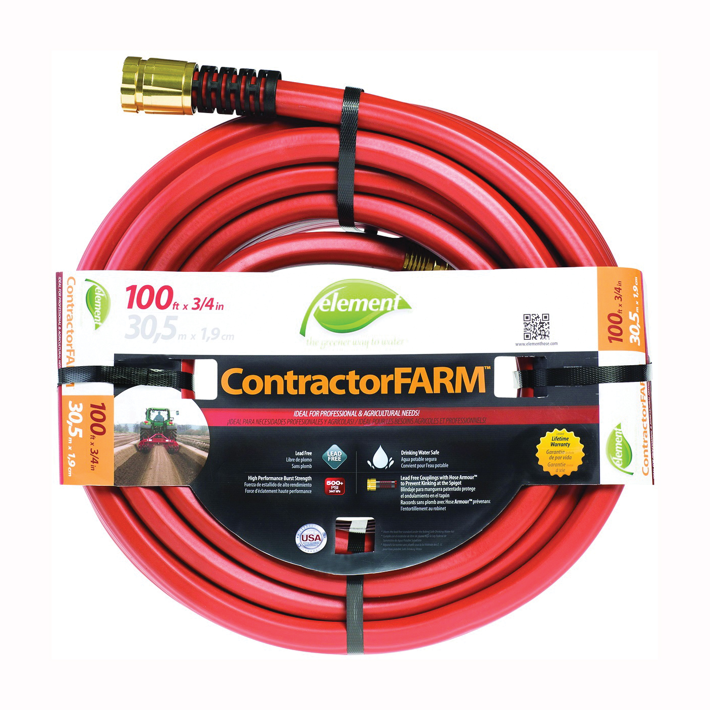 Picture of SWAN Element ContractorFARM ELCF34100 Water Hose with Brass Coupling, 100 ft L
