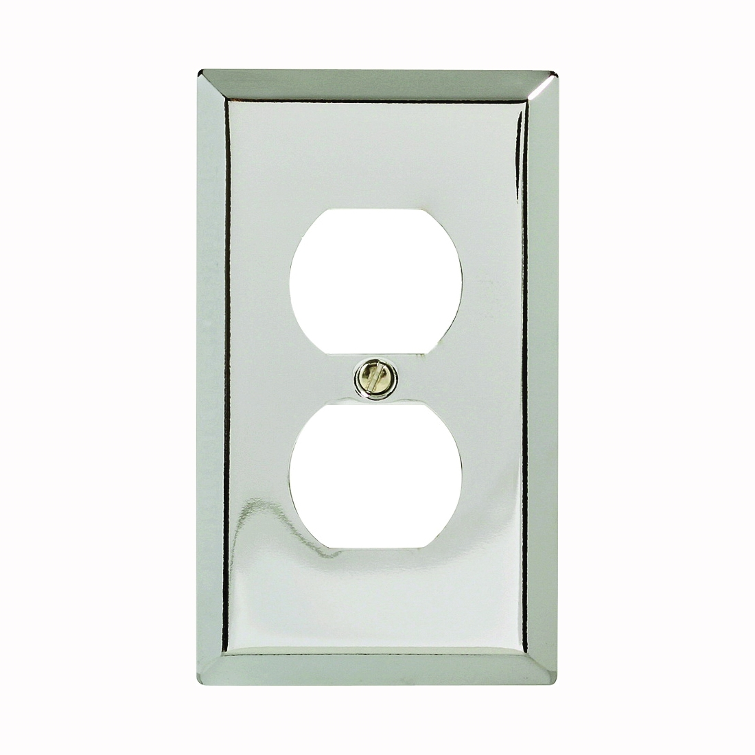 Picture of Amerelle 161D Duplex Receptacle Wallplate, 4-5/16 in L, 2-7/8 in W, 1-Gang, Steel, Polished Chrome