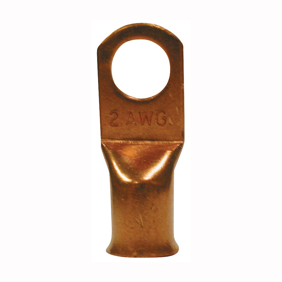 Picture of CALTERM 61607 Terminal Lug, 90 A, 2 AWG Wire, 3/8 in Stud, Copper Contact, 2/Clam