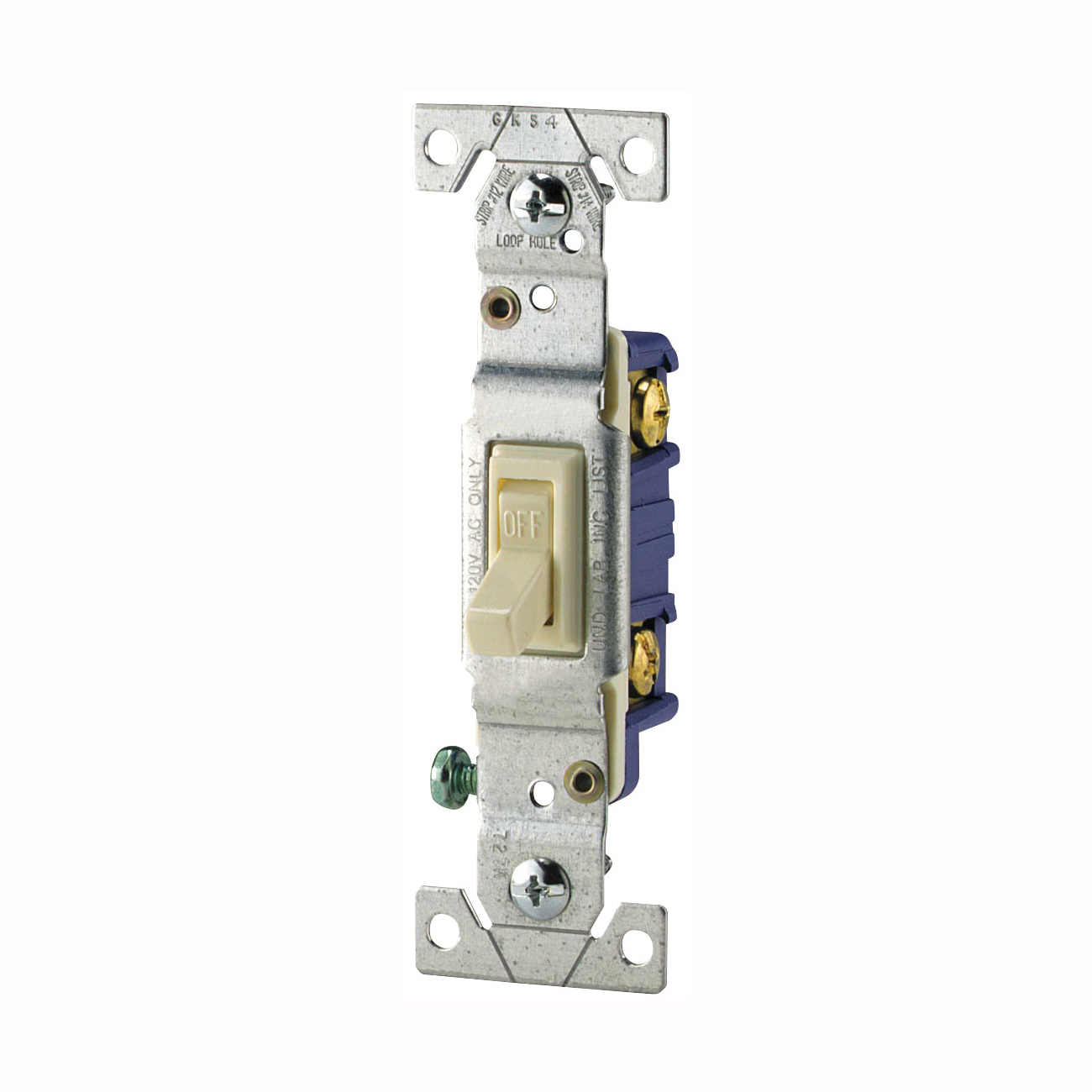 Picture of Eaton Wiring Devices 1301-7V Toggle Switch, 15 A, 120 V, Polycarbonate Housing Material, Ivory
