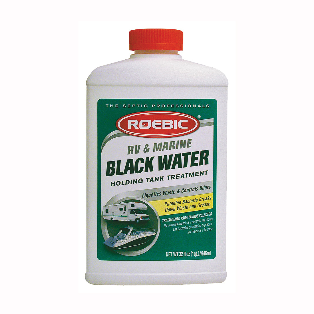 Picture of ROEBIC RV-Q RV and Marine Black Water Treatment, 1 qt Package, Bottle, Liquid, Clean