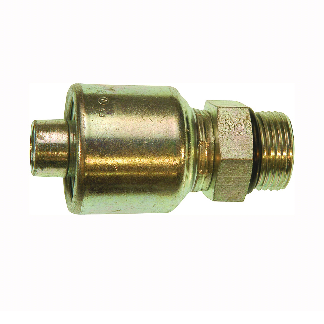 Picture of GATES MegaCrimp G25120-0810 Hose Coupling, 7/8-14, Crimp x ORB, Straight Angle, Steel, Zinc