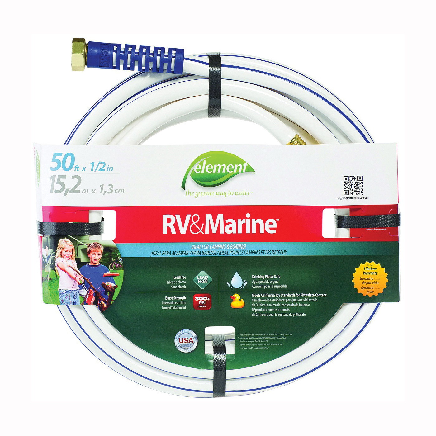 Picture of SWAN MRV12050 Water Hose, 1/2 in ID, 50 ft L, White