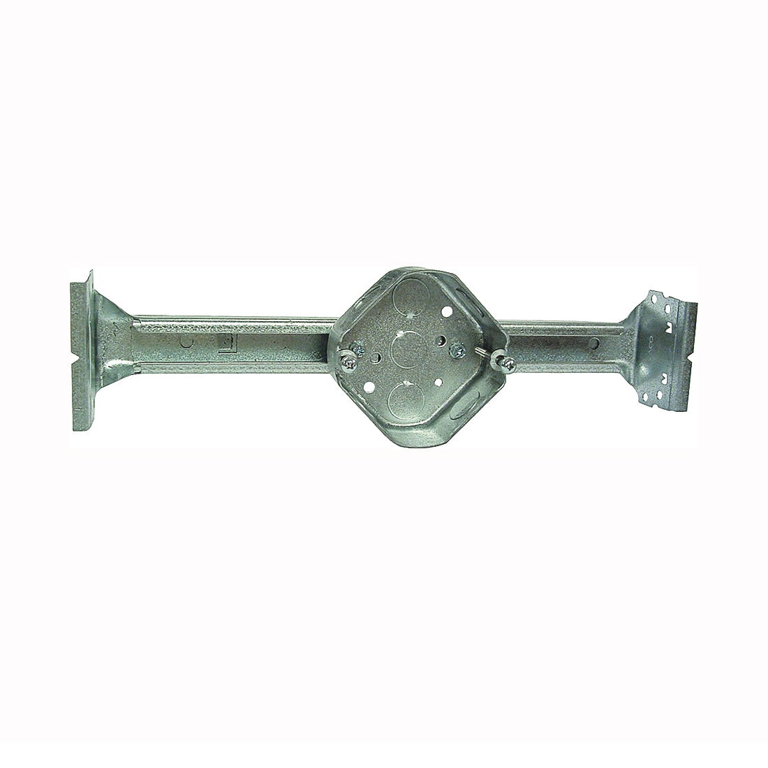 Picture of RACO 926 Ceiling Box, 4 in W, 1-1/2 in D, 4-1/4 in H, 1-Gang, 3-Knockout, Steel, Silver