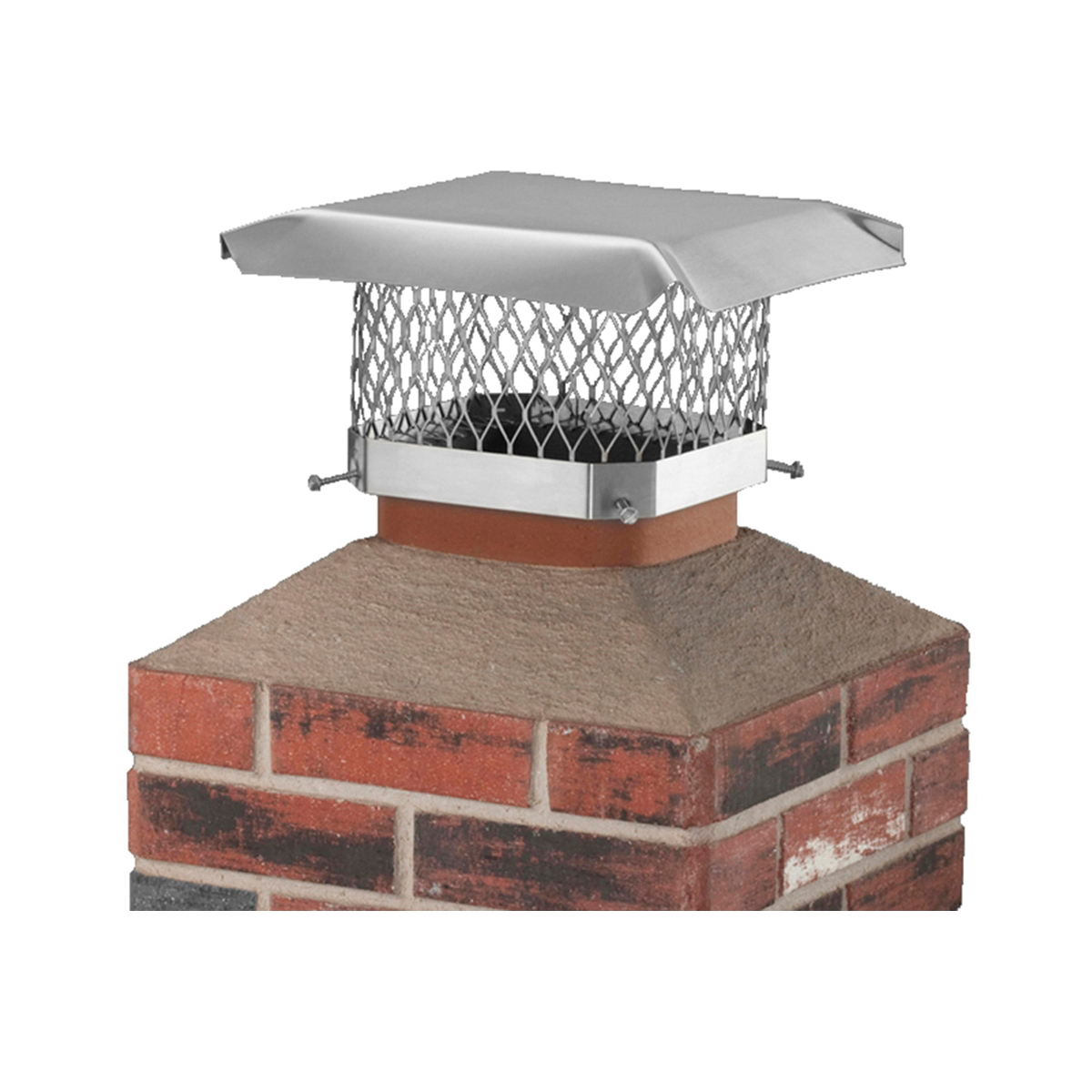 Picture of SHELTER SCSS99 Chimney Cap, Stainless Steel, Fits Duct Size: 7-1/2 x 7-1/2 to 9-1/2 x 9-1/2 in