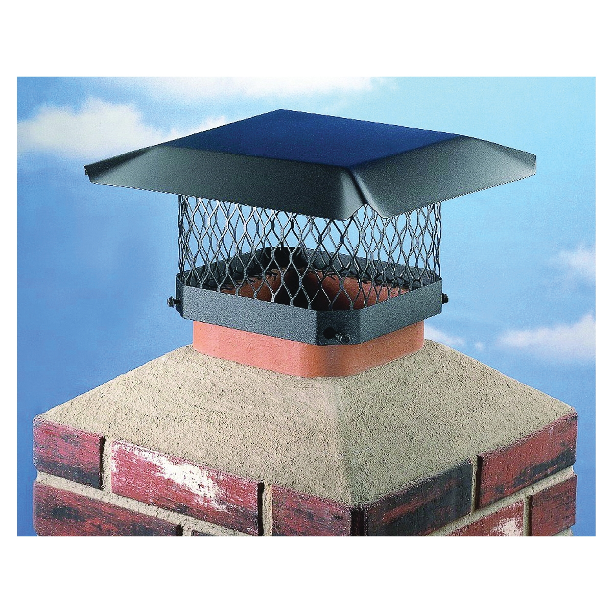 Picture of SHELTER SC99 Shelter Chimney Cap, Steel, Black, Powder-Coated, Fits Duct Size: 7-1/2 x 7-1/2 to 9-1/2 x 9-1/2 in