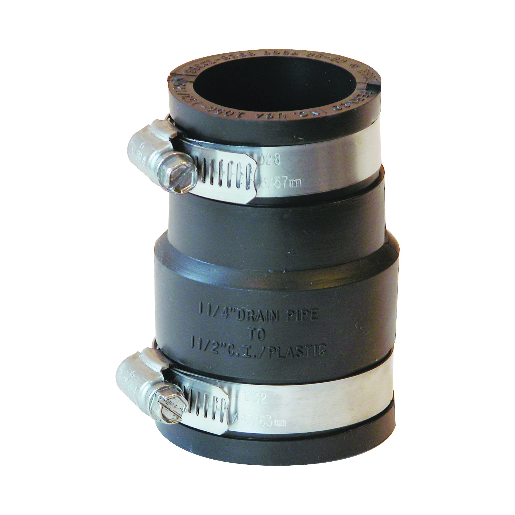 Picture of FERNCO P1056-150/125 Flexible Pipe Coupling, 1-1/2 x 1-1/4 in, PVC, Black, 4.3 psi Pressure