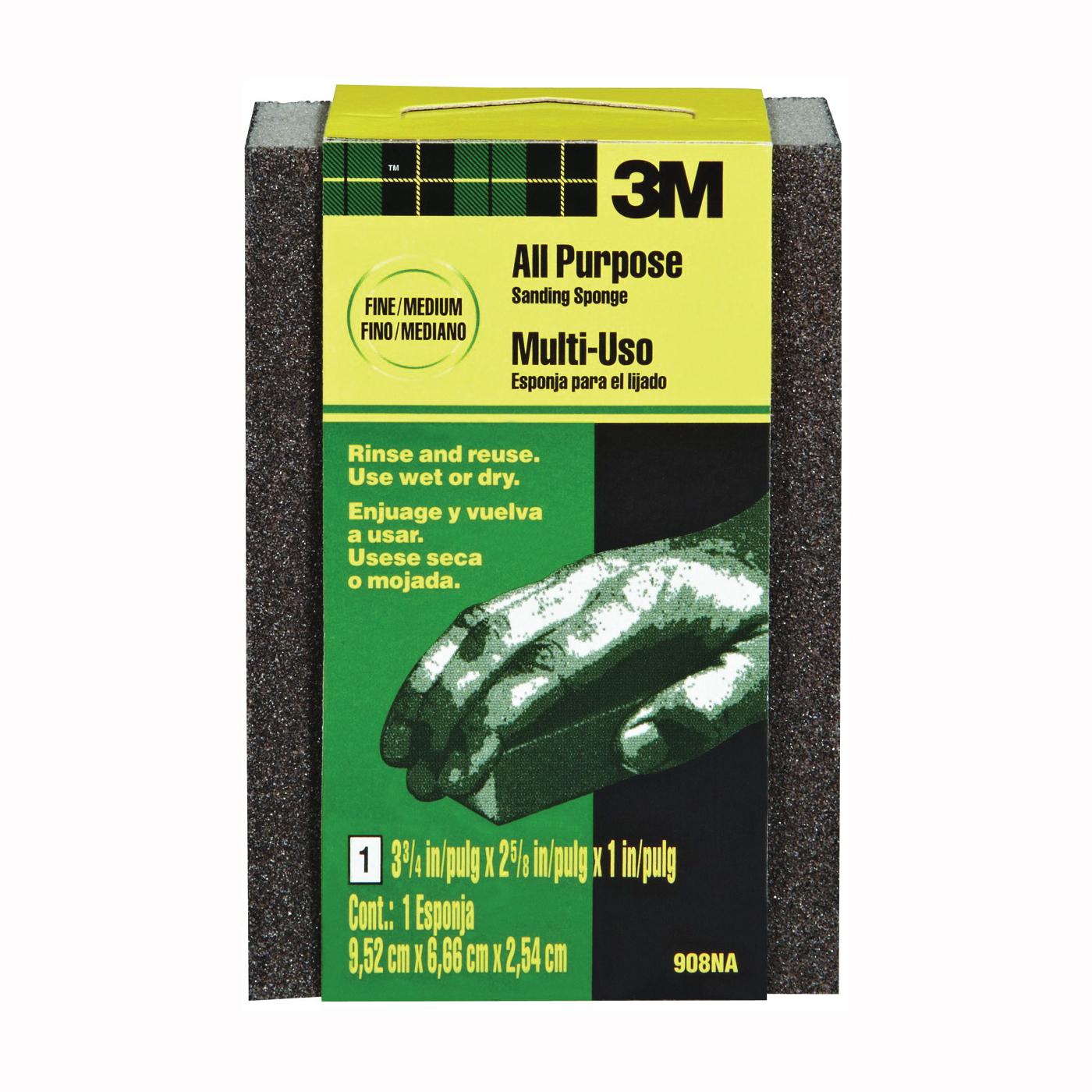 Picture of 3M 908 Sanding Sponge, 3-3/4 in L, 2-5/8 in W, Fine/Medium, Aluminum Oxide Abrasive