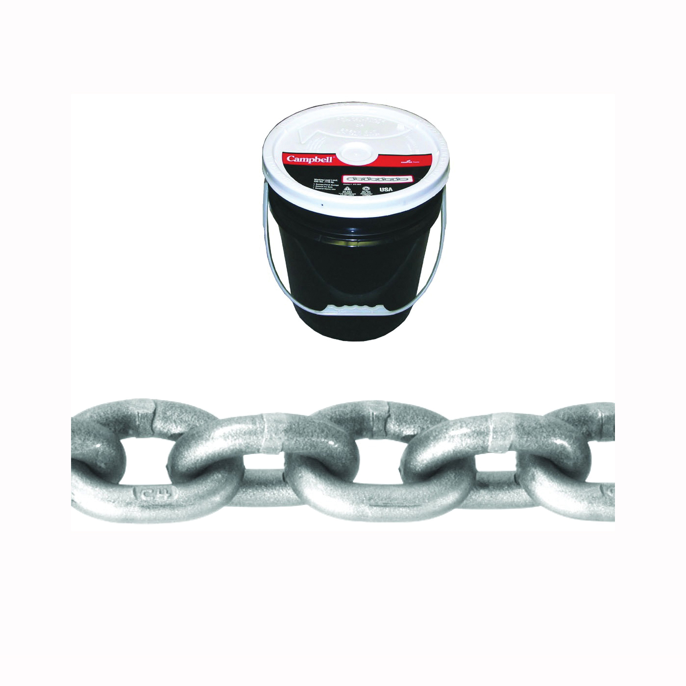 Picture of Campbell 0181623 High-Test Chain, 3/8 in Trade, 75 ft L, 5400 lb Working Load, 43 Grade, Carbon Steel, Zinc