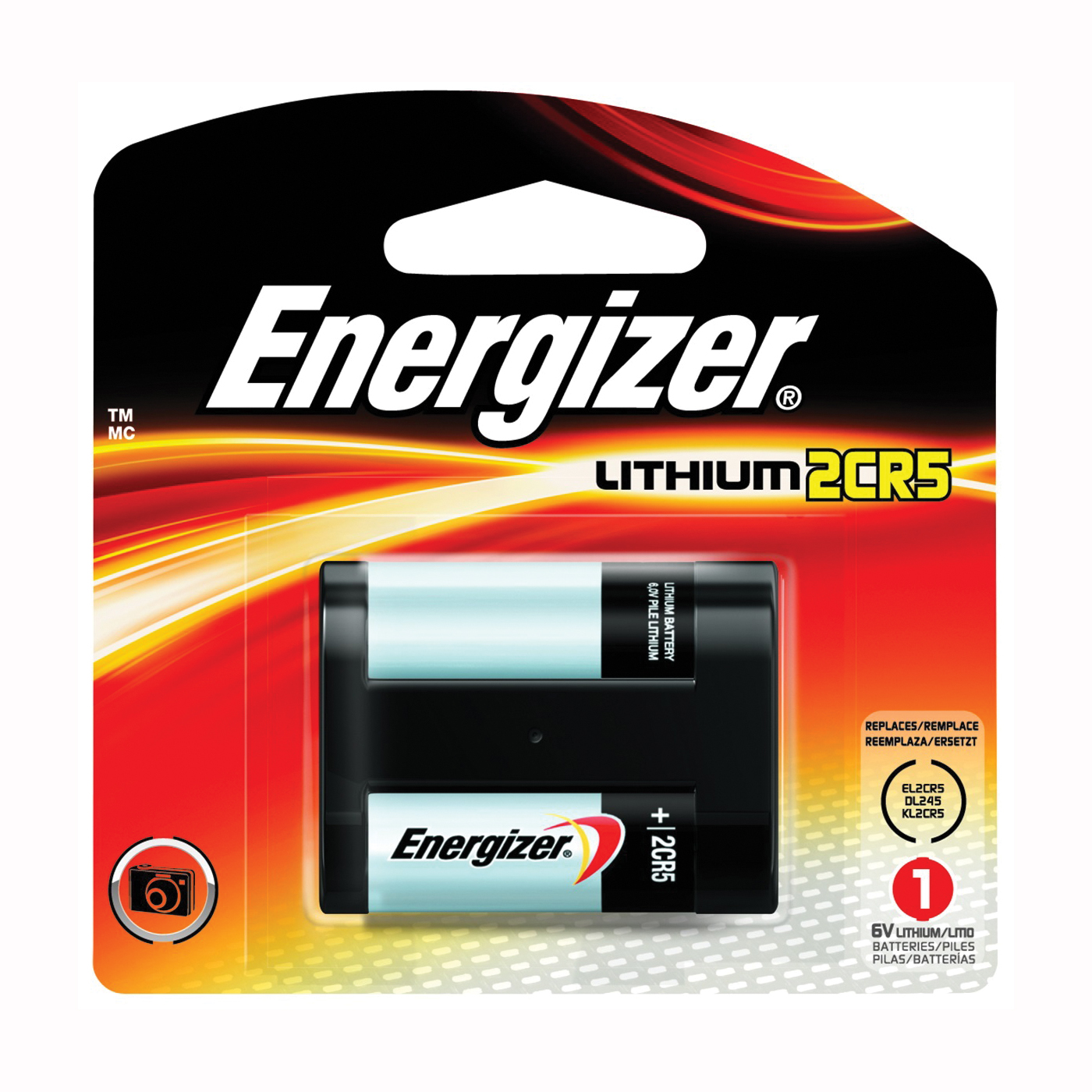 Picture of Energizer EL2CR5 Series EL2CR5BP Lithium Battery, 6 V Battery, 1500 mAh, Lithium, Manganese Dioxide