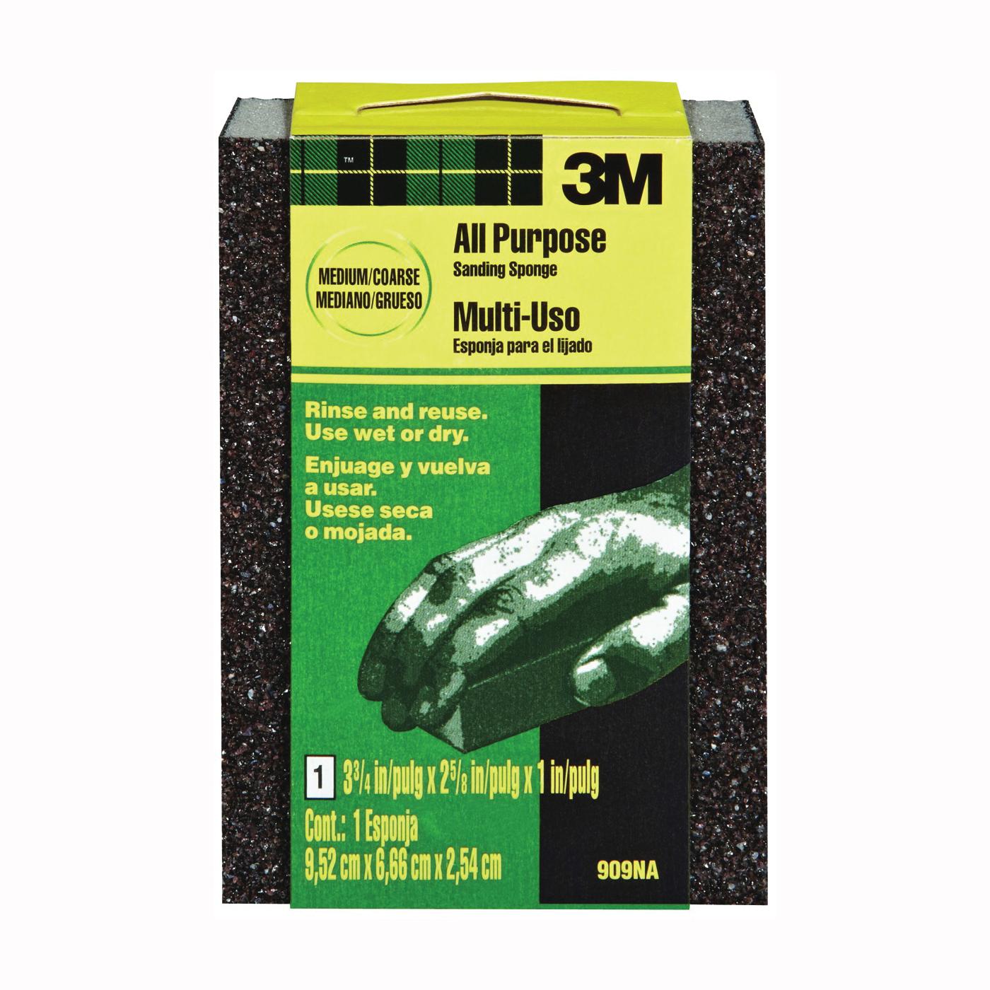 Picture of 3M 909 Sanding Sponge, 3-3/4 in L, 2-5/8 in W, Coarse/Medium, Aluminum Oxide Abrasive