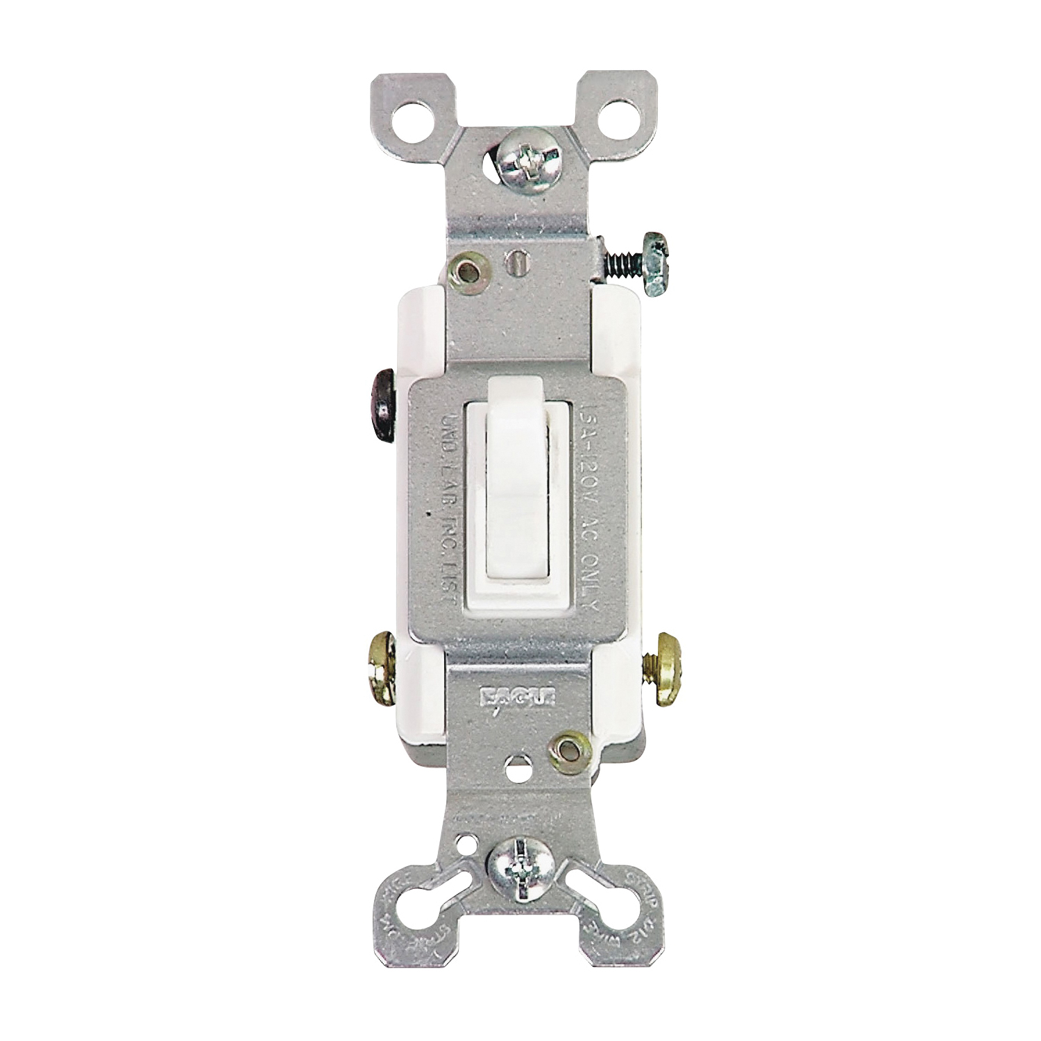 Picture of Eaton Wiring Devices 1303-7W-BOX Toggle Switch, 15 A, 120 V, Polycarbonate Housing Material, White