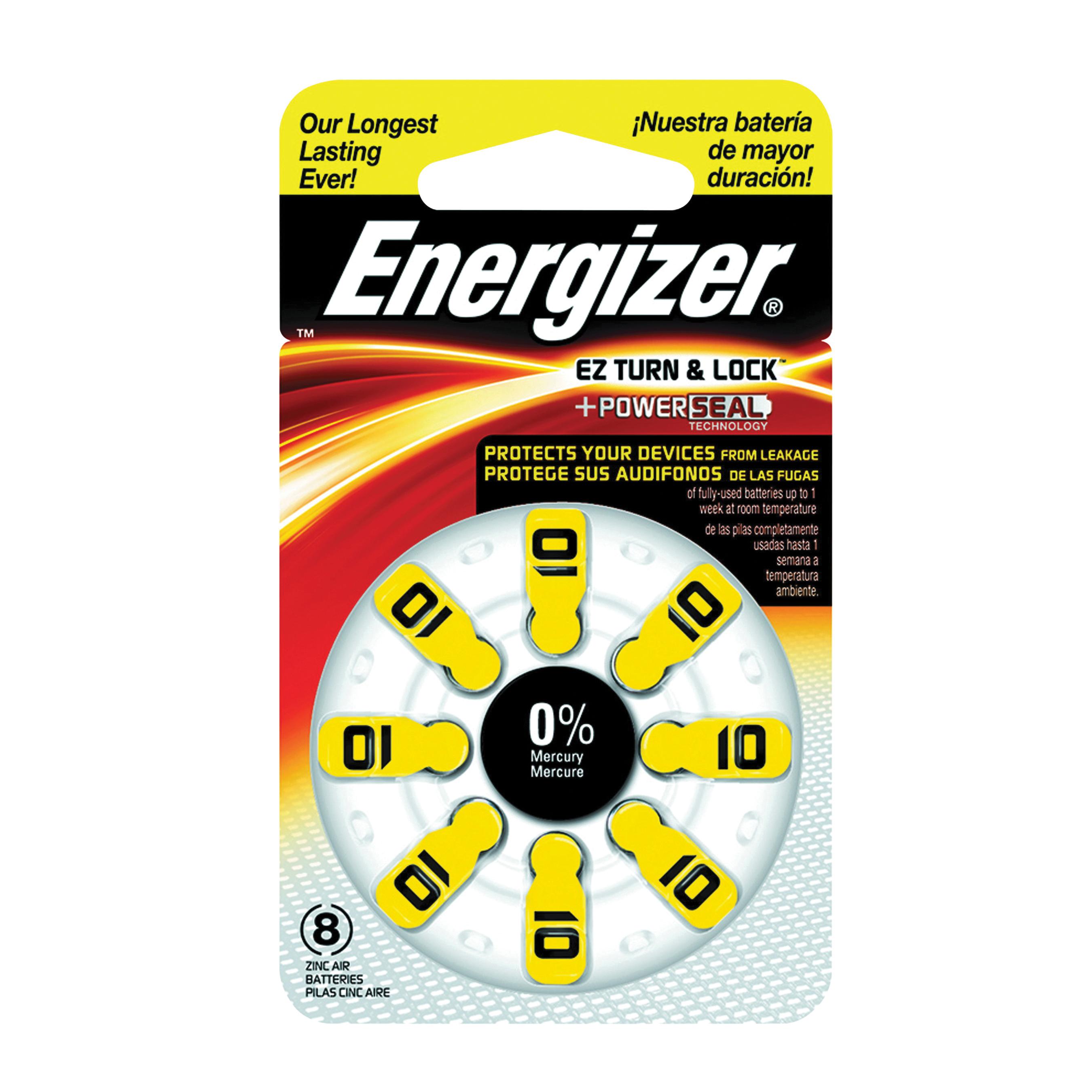 Picture of Energizer 10 Series AZ10DP-8 Hearing Aid Battery, 1.4 V Battery, 89 mAh, Zinc-Air