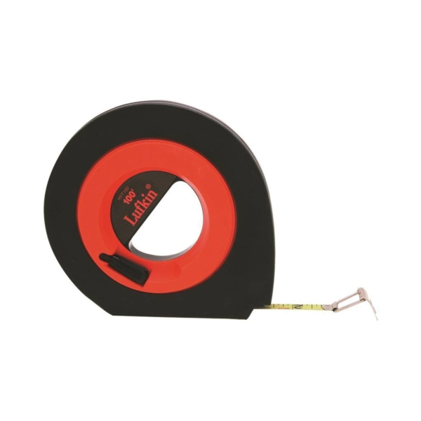 Picture of Crescent Lufkin Speedwinder HYT100 Tape Measure, 100 ft L Blade, 3/8 in W Blade, Steel Blade, ABS Case, Orange Case
