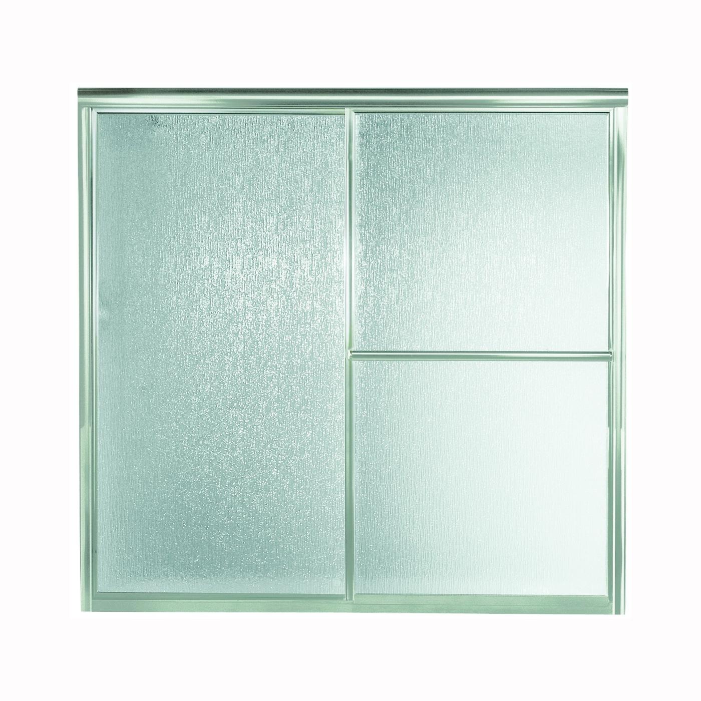 Picture of Sterling 5900 Series 5906-59S Bath Door, Deluxe Frame, Aluminum Frame, Rain Glass, Tempered Glass, Sliding Door