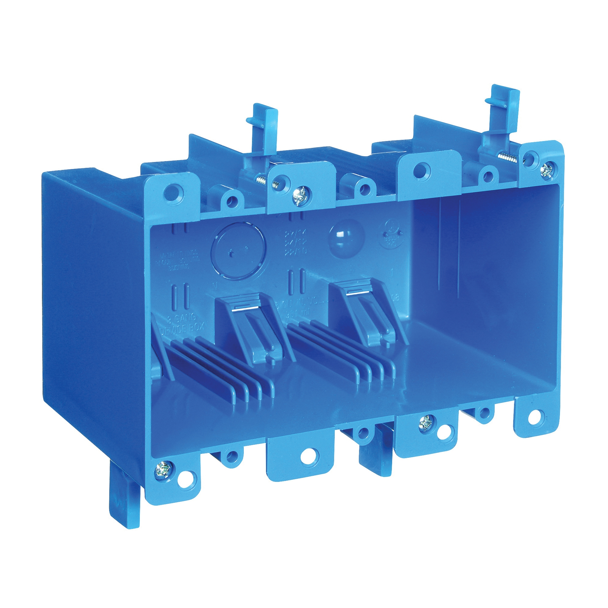 Picture of Carlon B355R Outlet Box, 3-Gang, PVC, Blue, Clamp Mounting