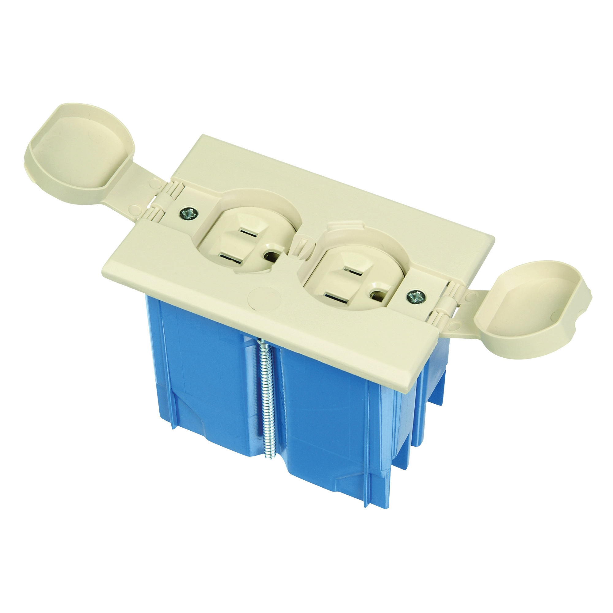 Picture of Carlon B121BFBRR Floor Box Kit, 4.36 in W, 2.24 in D, 3.33 in H, 1-Gang, Non-Metallic Box, Ivory