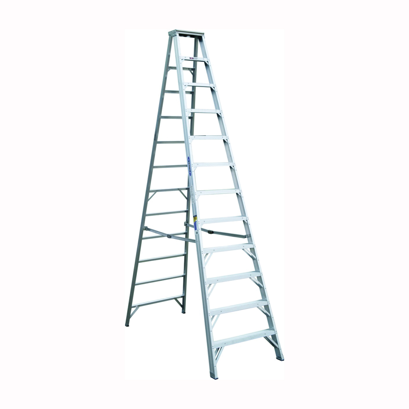 Picture of WERNER 412 Step Ladder, 16 ft Max Reach H, 11-Step, 375 lb, Type IAA Duty Rating, 3 in D Step, Aluminum