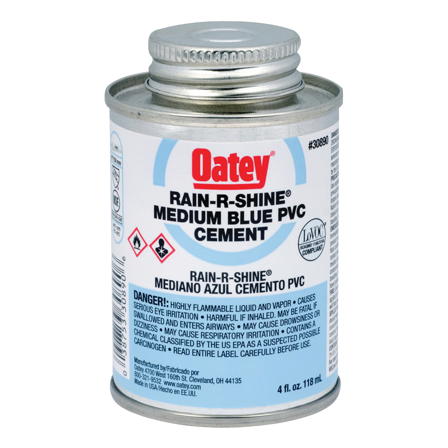Picture of Oatey 30890 Solvent Cement, 4 oz, Can, Liquid, Blue