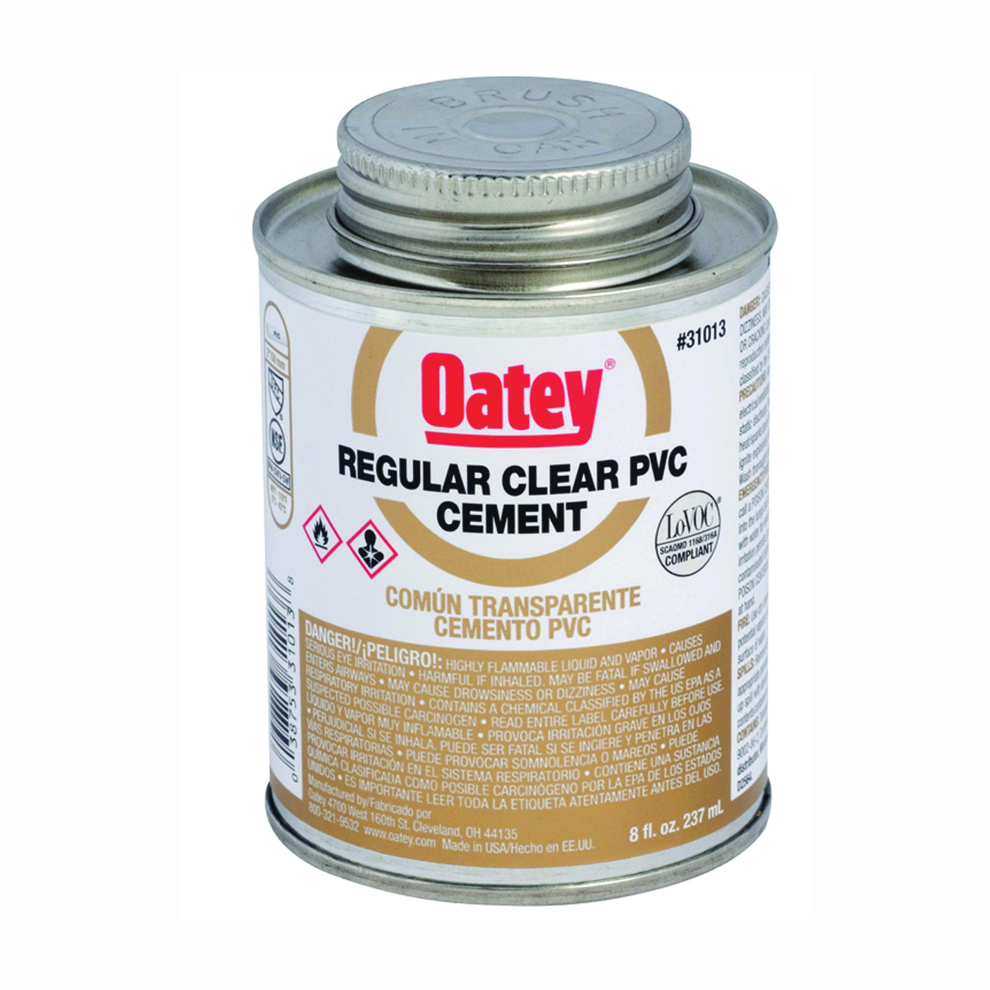 Picture of Oatey 31012 Solvent Cement, 4 oz, Can, Liquid, Clear