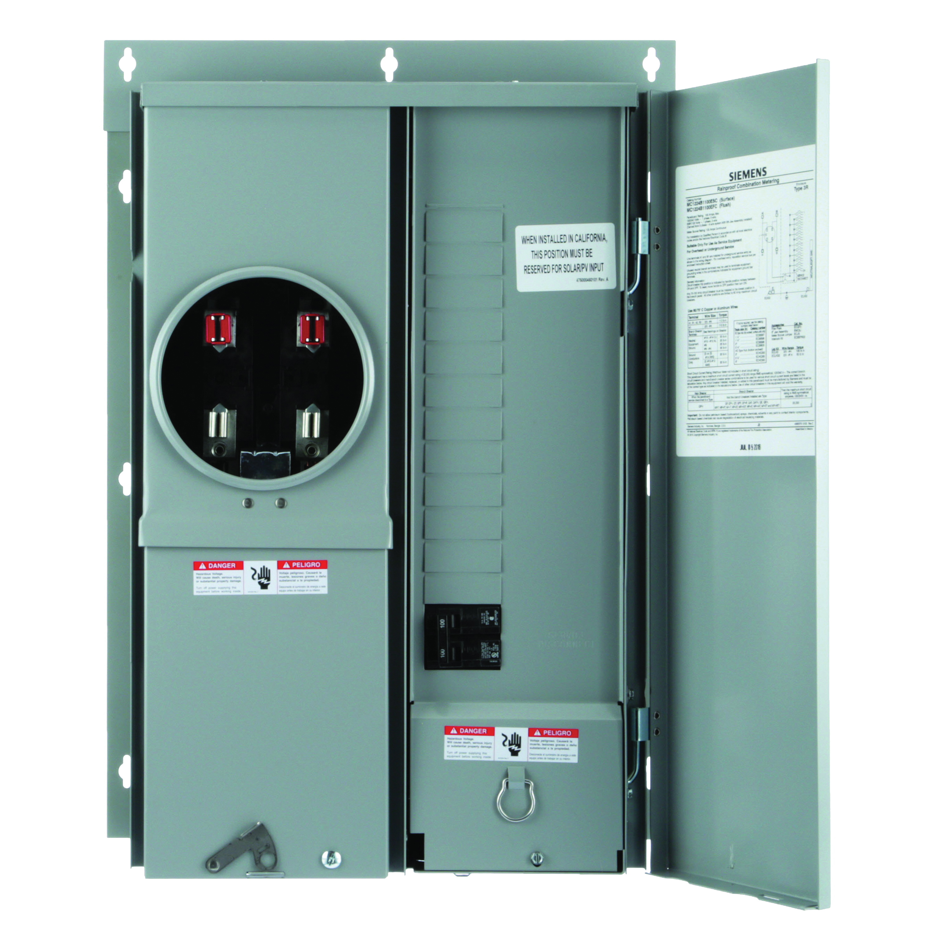 Picture of Siemens MC1224B1100EFC Meter Load Center Combination, 100 A, 12-Space, 4-Jaw, 24-Circuit, NEMA 3R Enclosure