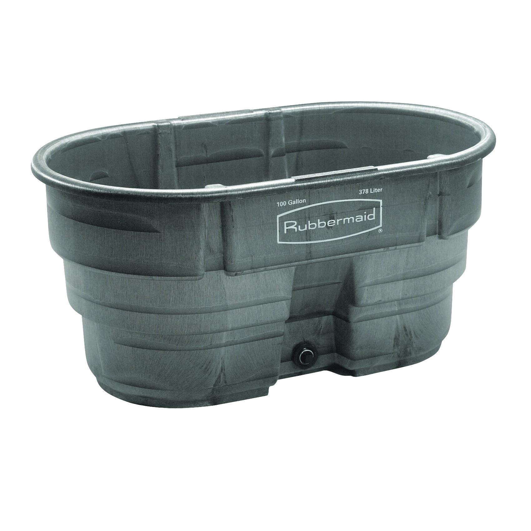 Picture of Rubbermaid 424288BLA Stock Tank, 100 gal Capacity, Plastic, Black