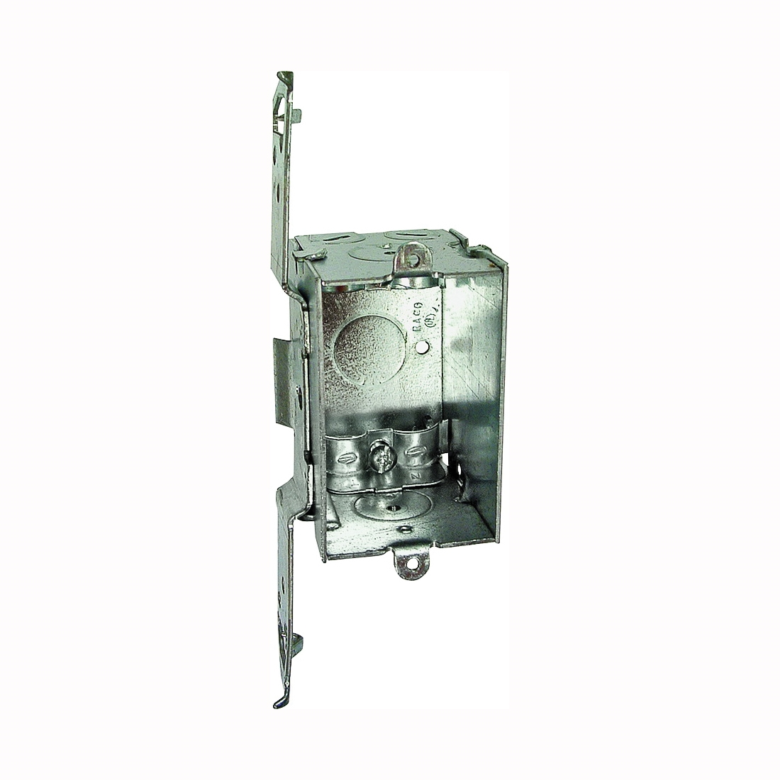 Picture of Orbit 6358469 Switch Box, 1-Gang, 7-Knockout, 1/2 in Knockout, Steel, Galvanized, Bracket Mounting