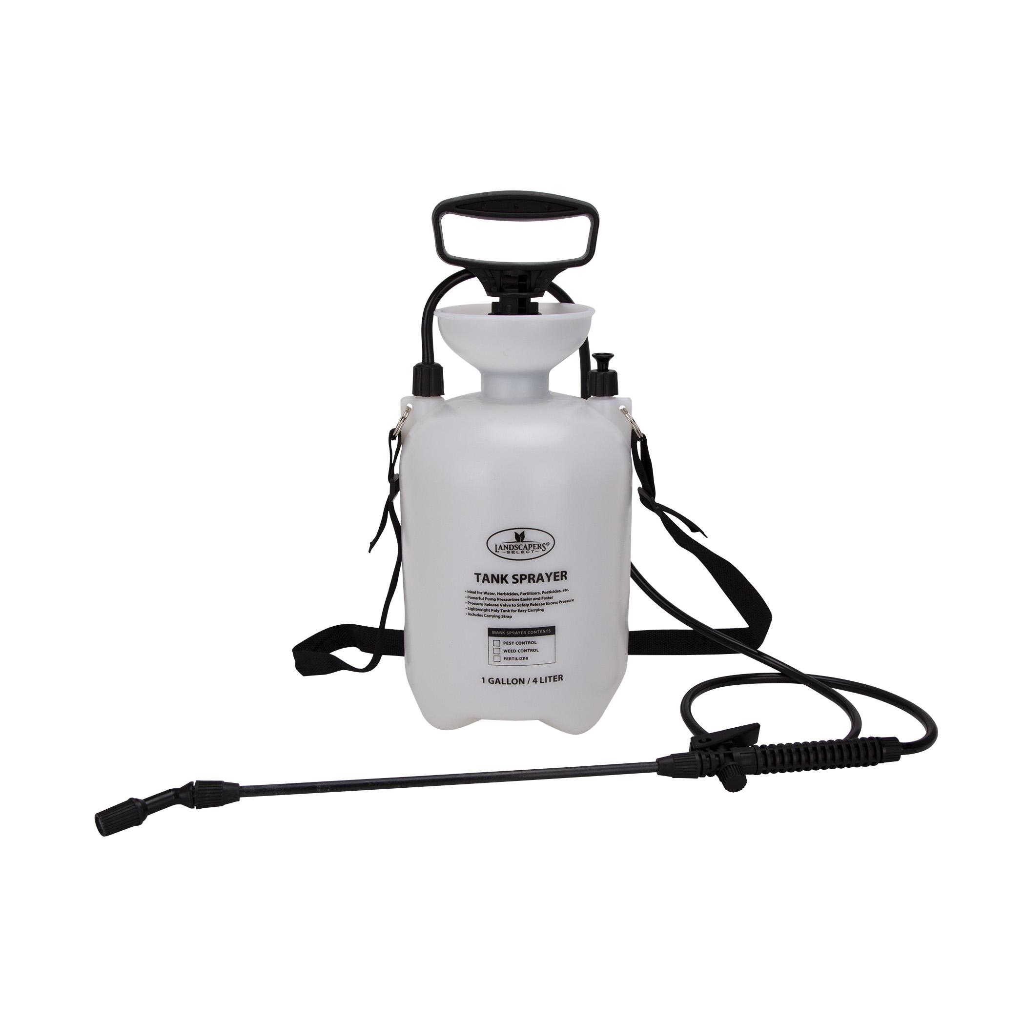 Picture of Landscapers Select SX-4B Compression Sprayer, 1 gal Tank, Polyethylene Tank, 55 L Hose, White