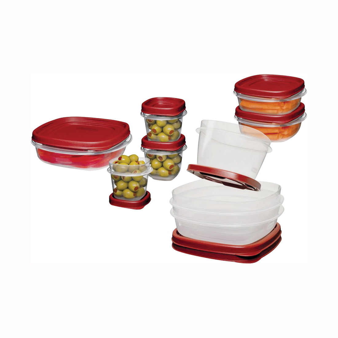 Picture of Rubbermaid 1777170 Food Container Set, 1/2, 1-1/4, 2, 3, 5 Cups Capacity, Plastic, Clear