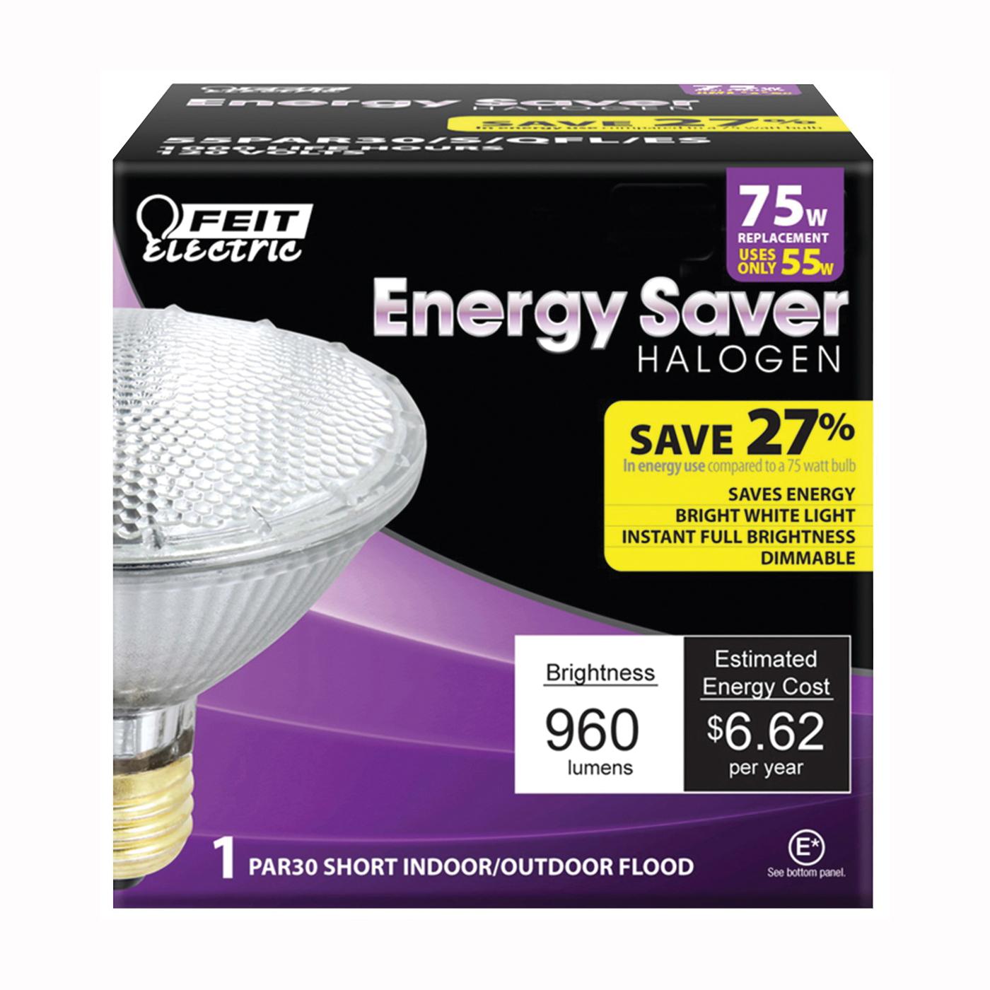 Picture of Feit Electric 55PAR30/S/QFL/ES Halogen Lamp, 55 W, Medium E26 Lamp Base, PAR30 Lamp, Soft White Light, 960 Lumens