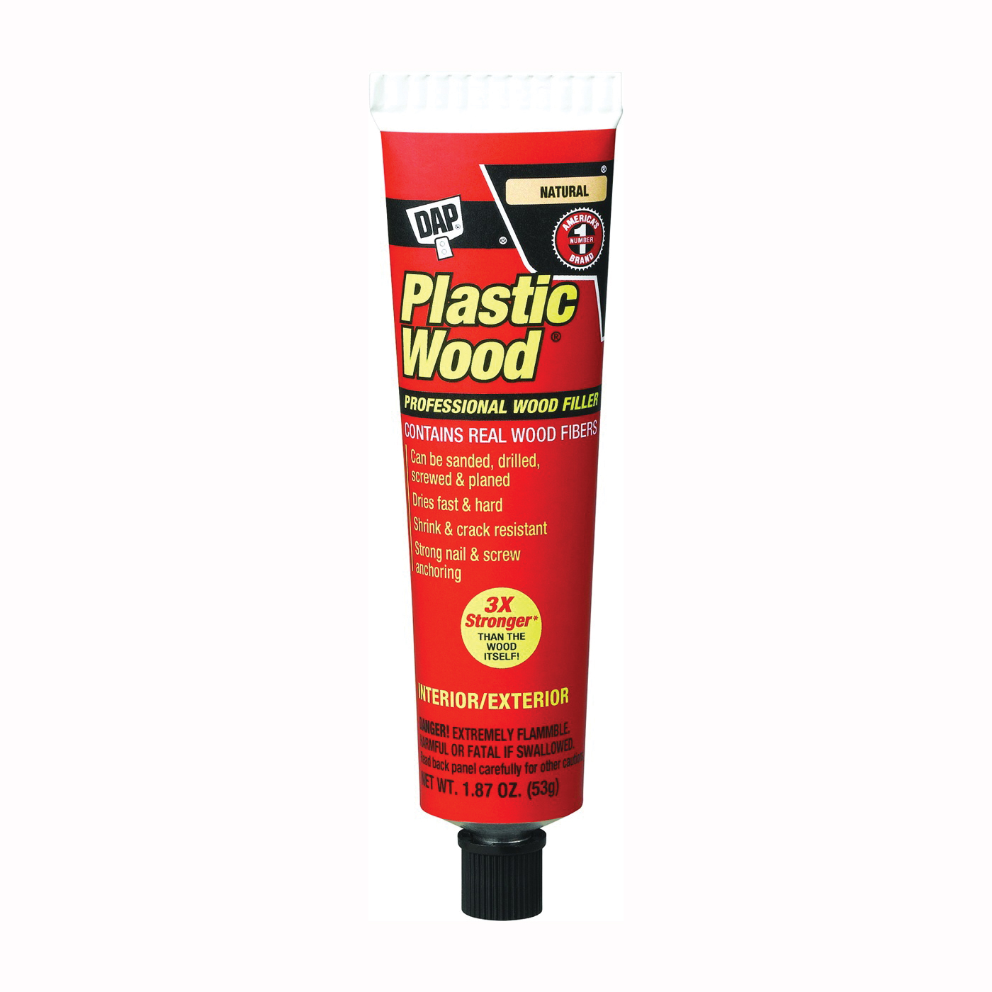 Picture of DAP Plastic Wood 21500 Wood Filler, Paste, Strong Solvent, Natural, 1.87 oz Package