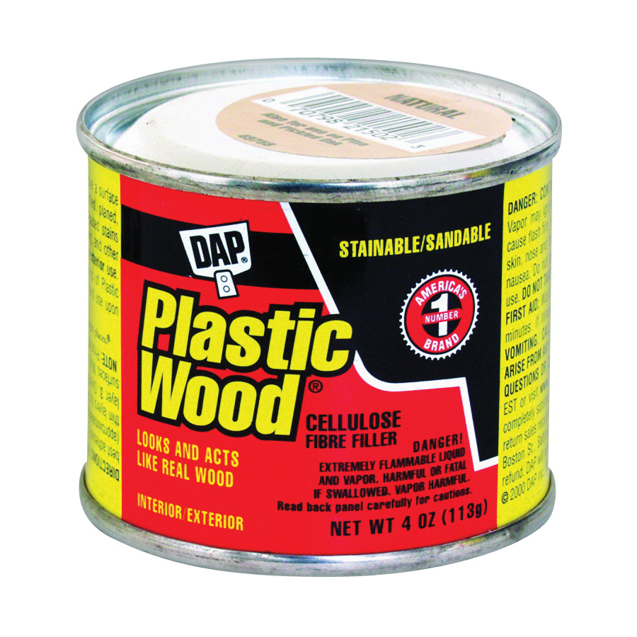 Picture of DAP Plastic Wood 21502 Wood Filler, Paste, Strong Solvent, Natural, 4 oz Package